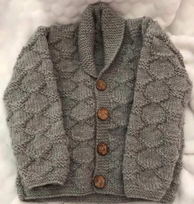 Hand knitted grey cardigan collared 1-2Y