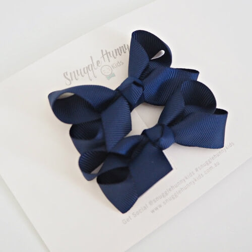 Navy Blue Clip Bow - Small Piggy Tail Pair