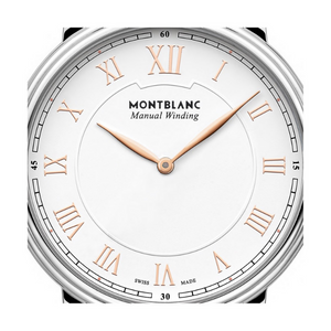 Orologio da uomo Montblanc Traditional Manual Winding  Cassa: 40 mm Quadrante: Bianco con indici romani rifiniti in oro rosa Movimento a carica manuale: MB 23.01 Riserva di carica: 42 ore Impermeabilità: 3 ATM Cinturino in acciaio pregiato  Codice prodotto: 119963