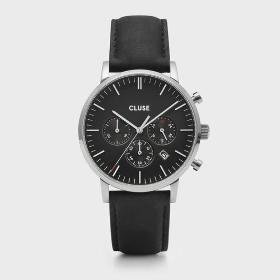 Cluse Orologio Uomo Aravis chrono leather silver black/black