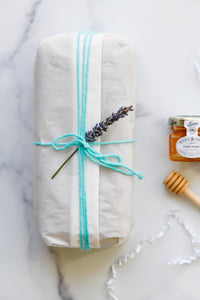 blue root wrapped honey lavender bread