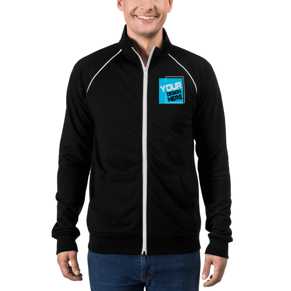 Customizable Piped Fleece Jacket