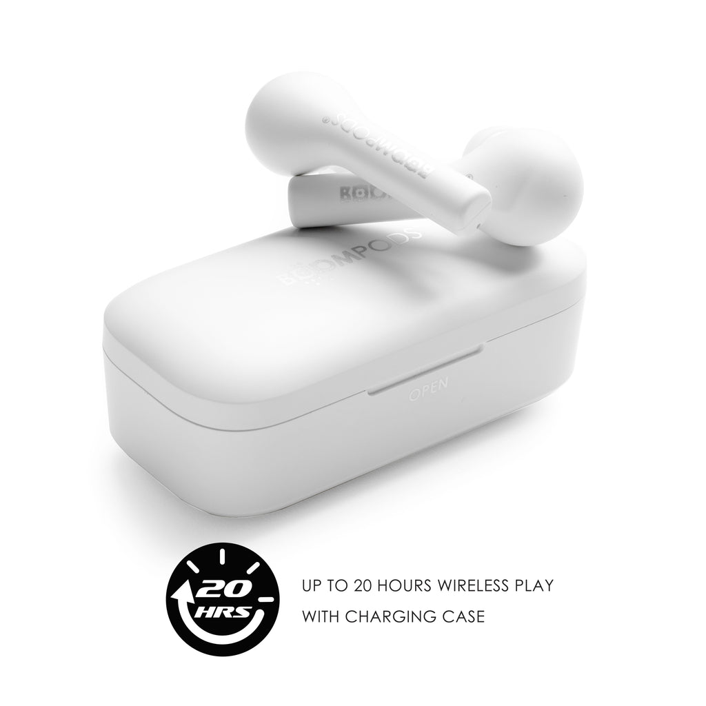 earphones resting atop included portable charging case