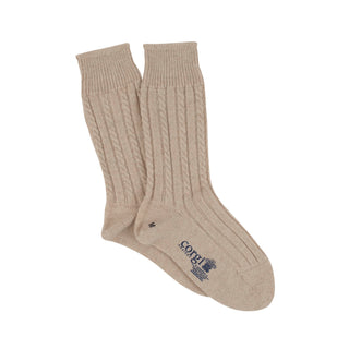 Women's Luxury Hand Knitted Mini Cable Pure Cashmere Socks