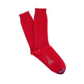 Men's Luxury Rib Contrast Toe Pure Cashmere Socks