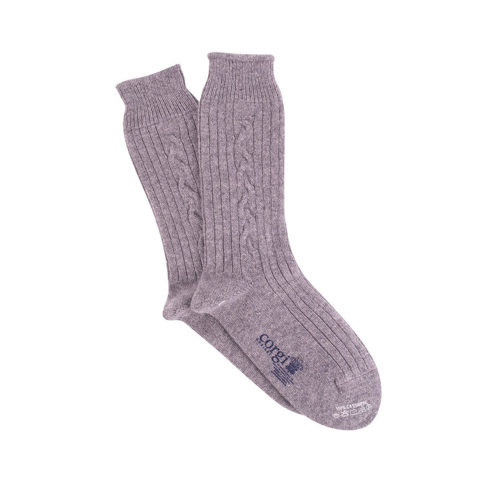 Men's Luxury Hand Knitted Cable Pure Cashmere Socks