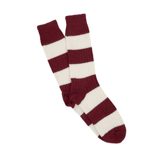 Men's Rib Rugby Stripe Wool & Cotton Socks