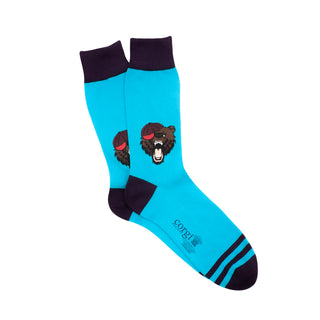 Men's Angry Bear with Baseball Cap Cotton Socks