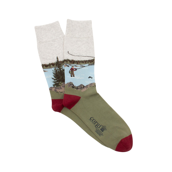 Men's Fishing Scene Cotton Socks