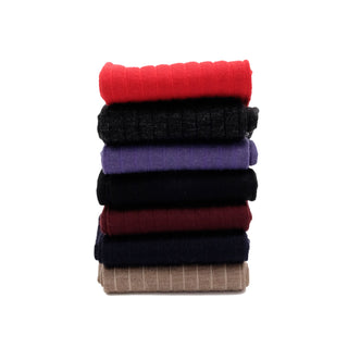Men's Assorted Seven Pack of Plain Rib Merino Wool Socks