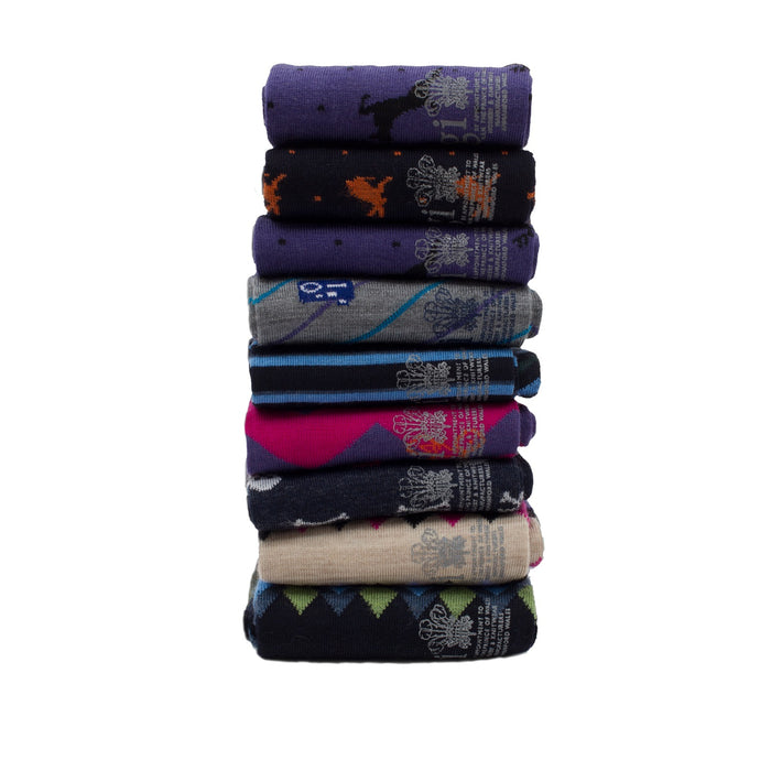 Men's Seven Pack of Assorted Patterned Merino Wool Socks