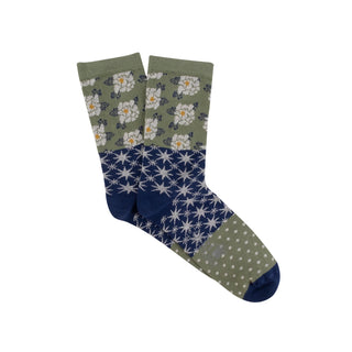 Women's Multi-coloured Patchwork Cotton Socks