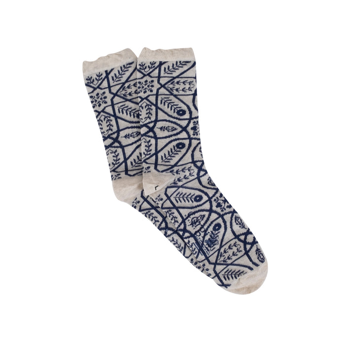 Women's Tile Print Cotton Socks