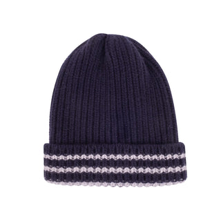 Men's Rib Knit Striped Brim Wool Beanie