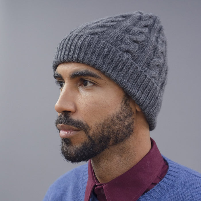 Men's Cable Knit Cashmere Beanie