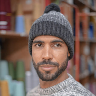 Men's Marl Striped Bobble Cashmere Beanie