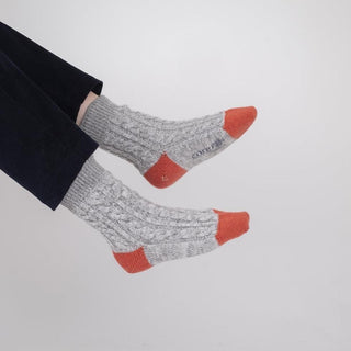 Women's Luxury Hand Knitted Cable Marl Cashmere Socks
