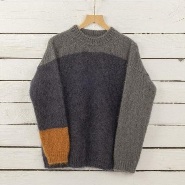 Men's Crew Neck Colour Block Mohair Sweater