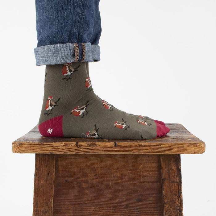 Men's Christmas Robin Cotton Socks