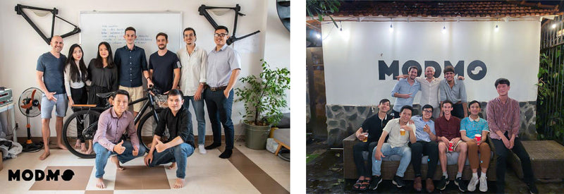 L: Modmo team May 2020 | R: Modmo Team end of June 2020, when we moved into our current office