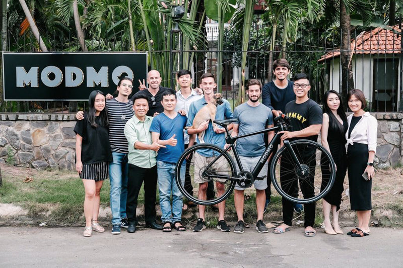 Modmo team July 2020, complete with Chloe, our dog