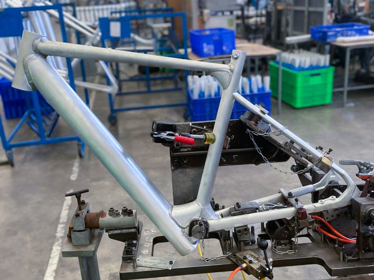 The prototype bike frame coming to life