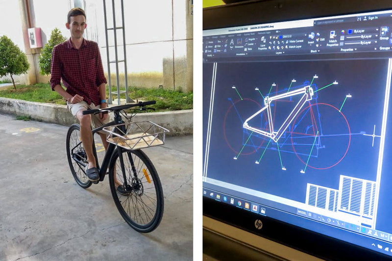 Jack with the first prototype, and modelling the bike