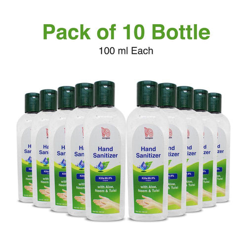 Nirogam's Hand Sanitizer - 100 ml (pack of 10) - Alcohol Based - Nirogam
