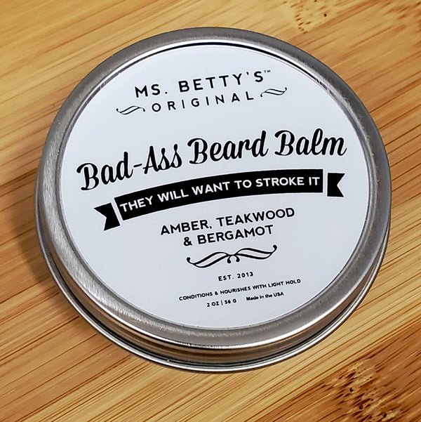 Bad Ass Beard Balm - Amber, Teakwood, and Bergamot - Ms. Betty's Original