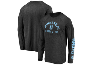 Minnesota United FC Fanatics Branded Space Dye Line Up Hand Ball Raglan Long Sleeve T-Shirt – Black