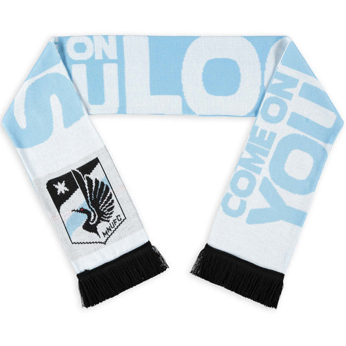 Minnesota United FC White/Light Blue Come On You Loons Jacquard Knit Scarf