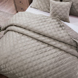 DaDa Bedding Velveteen Double Sided Quilted Coverlet Bedspread Set, Taupe Grey (JHW831)