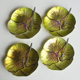 "Set/4 PANSY 6.5"" GREEN PURPLE CANAPE PLATES"