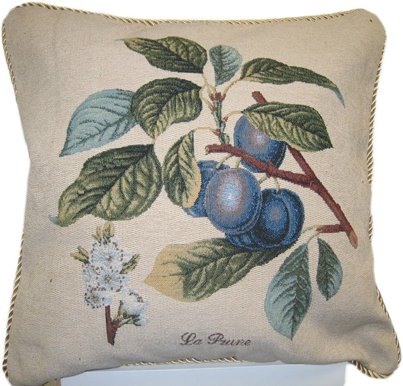 Sugar Plum Fruit Visions Elegant Novelty Woven Square Accent Cushion Cover Throw Toss Pillow Case - 18