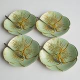 "Set/4 PANSY 6.5"" TURQUOISE GOLD CANAPE PLATES"