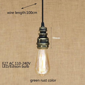 Industrial iron water Pipe vintage hanging lamp | hemp rope