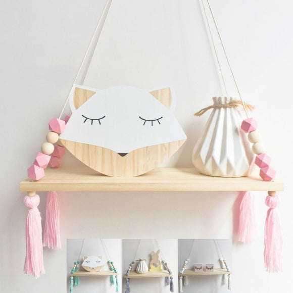 Wooden Tassel Shelf | Hanging Wall Accent Shelving
