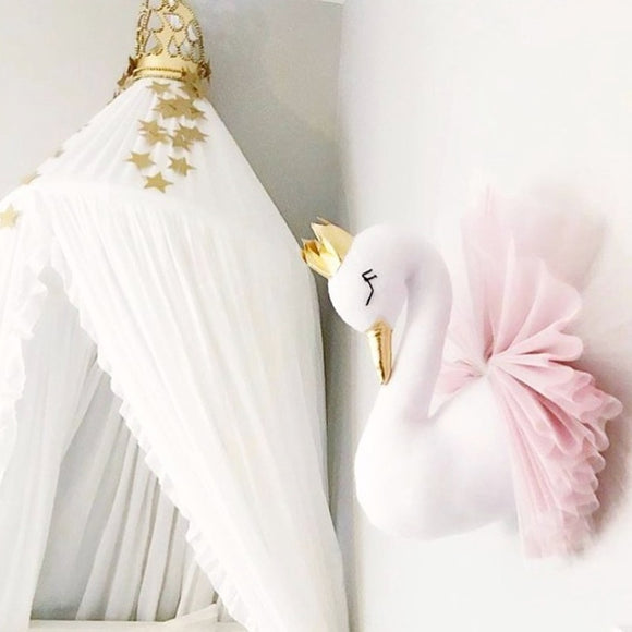 Cute Golden Crown Swan Wall Decor | Pink or White soft Stuffed Wall Hanging