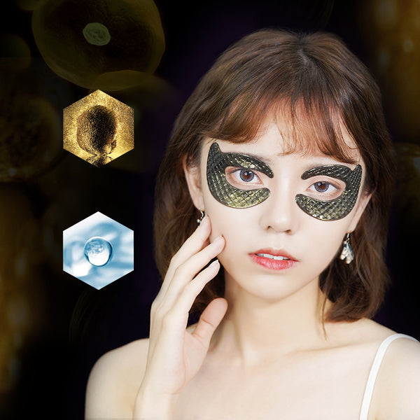 model with cobor truffle caviar multi-effect collagen gel under eye masks