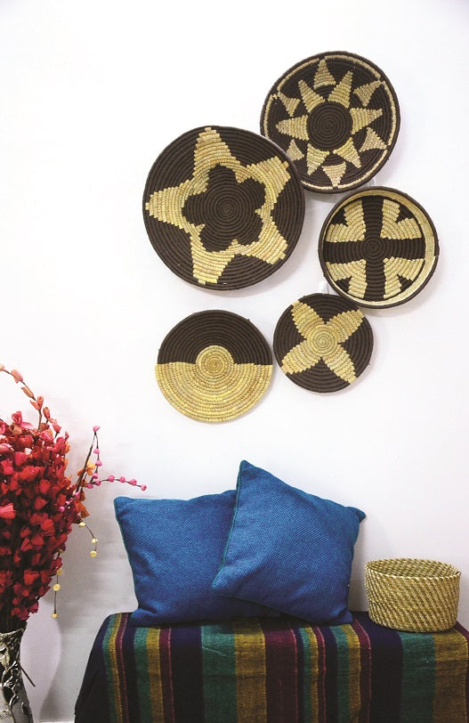 Copper Brown Woven Wall Basket - Set of 5 - Home Decor | KalaGhar