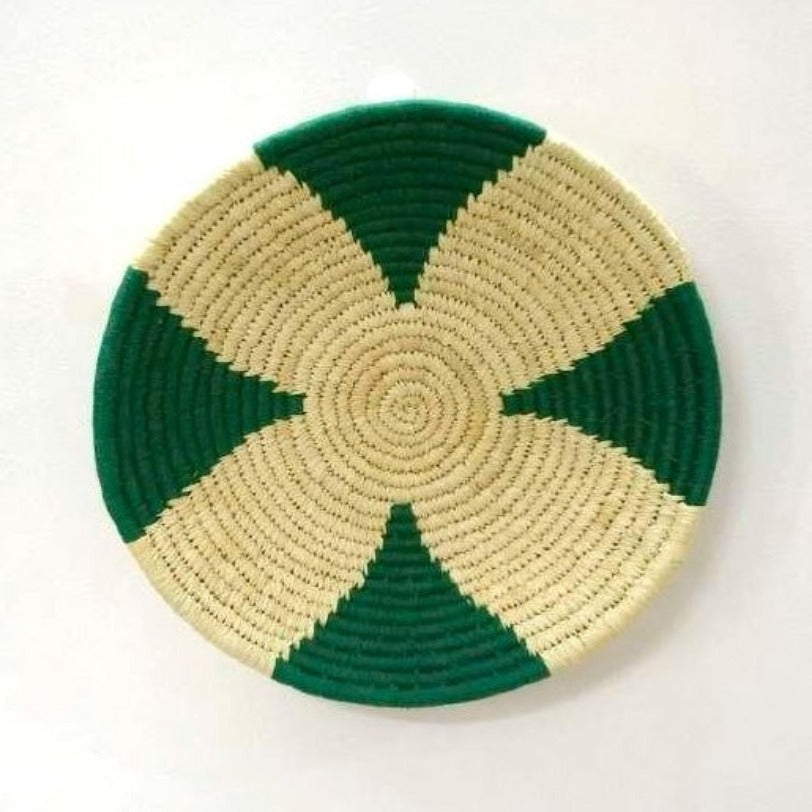 Woven Wall Basket in Green and Natural | KalaGhar