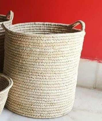 Large Woven Laundry Storage Basket in Natural | KalaGhar