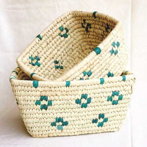 Patterned Rectangular Woven Storage Baskets - Set of 2 | KalaGhar