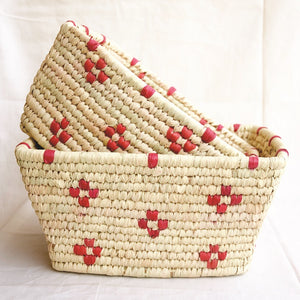 Patterned Rectangular Woven Storage Baskets | KalaGhar