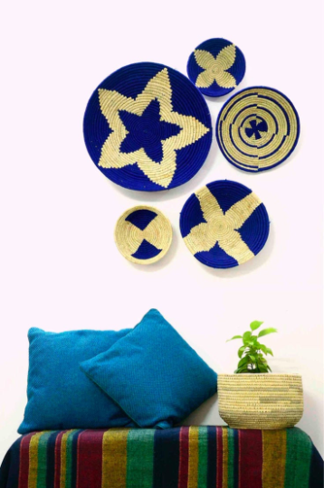 Blue Woven Wall Basket - Set of 5 - Home Decor | KalaGhar