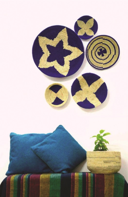 Navy Blue Woven Wall Basket - Set of 5 - Home Decor | KalaGhar