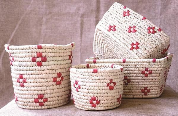 Handwoven Patterned Baskets Set for Storage in Red | KalaGhar