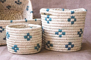 Decorative Patterned Woven Basket Set of 2 | KalaGhar