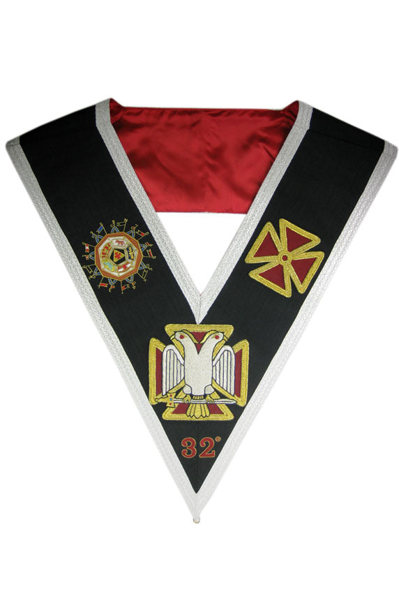 Scottish Constitution 32nd Degree Collar, Hand Embroidered