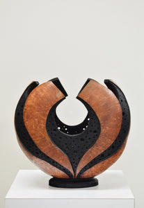 Black Burl Hole Carved Vase Gourd by Karen Fenwick